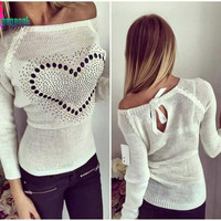 Gagaopt 2016 Blusas Feminino Cotton Women Shirts Casual Long Sleeve Printed Heart Sexy Slim Women's Solid High Quality Blouse