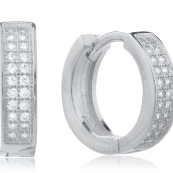 925 Silver Two-row Micro Pave 13mm Huggie Hoop Earrings with Cz - Silver-plated