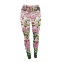 "Sylvia Cook ""The Fairy Rose"" Pink Floral Yoga Leggings"