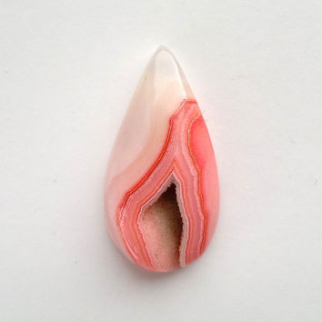 Salmon Pink Druzy Agate Cabochon Cab 42mm Pear Shape Geode for Setting Jewelry Making Minerals Polished Agate Colorful Stone Designer Cab