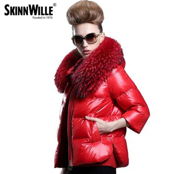 Skinnwille Womens Winter Jackets Coats Coat Down Jacket Women Fur Winter Jacket Eiderdown Outerwear Thick Winter Clothing