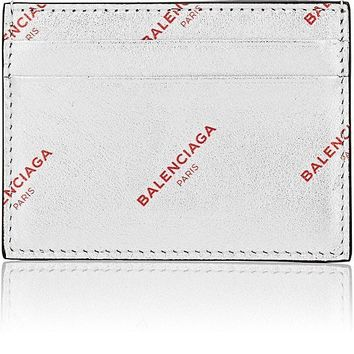 Metallic Silver Leather Logo Card Case by Balenciaga