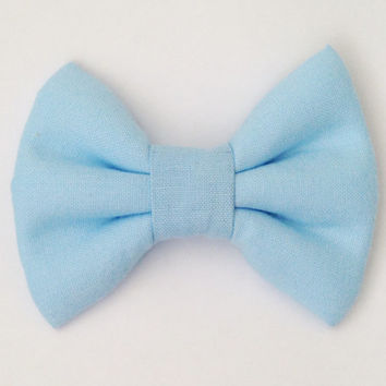 Baby Blue Fabric Bow (Handmade Bow / Bow Tie / or Headband)