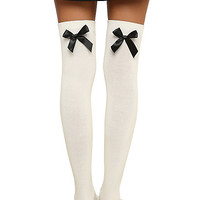 Cream Bow Over-The-Knee Socks