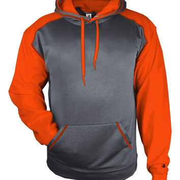Badger 1468 Sport Heather Hood - Carbon Heather Burnt Orange