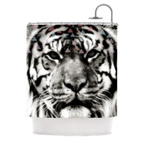 """Suzanne Carter """"Tiger Face"""" Gray Animal Shower Curtain"""
