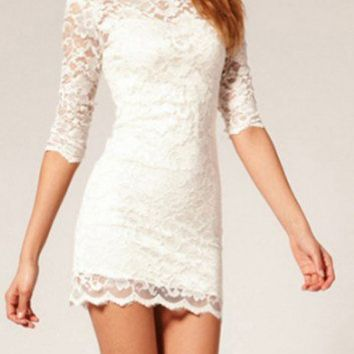 White or Black Lace Bodycon Dress