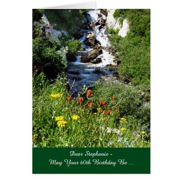 60th Birthday Adventure Waterfall with Wildflowers Card