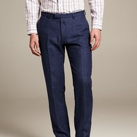 Modern Slim-Fit Navy Linen Suit Trouser