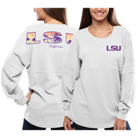 LSU Tigers Women's Pacific Impact Pom Pom Long Sleeve T-Shirt – White