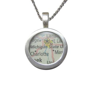 Michigan State University Map Pendant Necklace