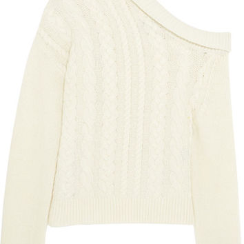 Preen by Thornton Bregazzi - One-shoulder cable-knit wool-blend sweater