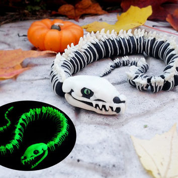 Skeletal Viper Glow in the Dark Articulated Sculpture -- Handmade Polymer Clay, Halloween Decor, Moveable & Poseable Snake w/ Fangs