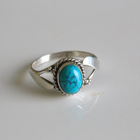 925 Sterling Silver Oval Turquoise Ring US6