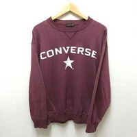 Vintage 90s CONVERSE SPELLOUT Maroon Sweatshirt Size Large