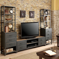 Furniture of america CM5904-TV-62-3PC 3 pc galway industrial style sand black finish metal entertainment center wall unit