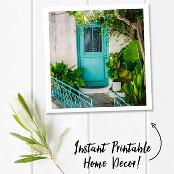 Door print, Greece photography, travel printable, tropical leaf digital download photography, instant download, square art, botanical art