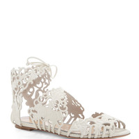 Linda Cut-Out Suede Sandals by Charlotte Olympia Now Available on Moda Operandi