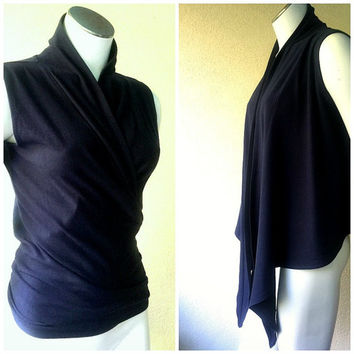 Sleeveless cardigan wrap, organic cotton women's shirt