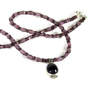 Dainty Amethyst Pendant Mounted in Silver with Seed Bead Necklace