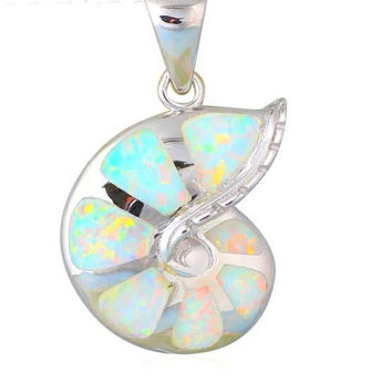 Small opal shell silver necklace