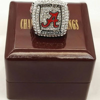 Alabama Crimson Tide National Championship Ring With Wooden Box