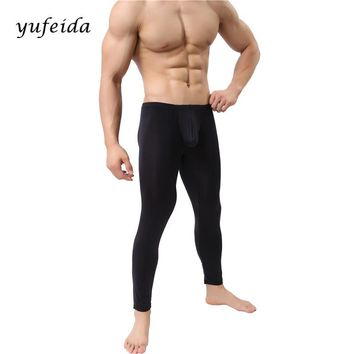 Fashion Shapers Sexy Men's Long Johns Bodysuit Leggings Trousers Compression Underwear Winter Warm Inside Pants Long Johns