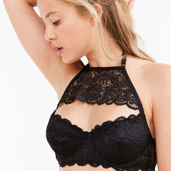 Out From Under Annie Cutout Lace High Neck Bra - Urban Outfitters