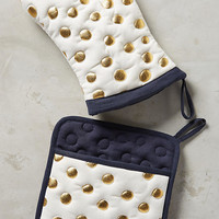 Gold Polka Dotted Pot Holder