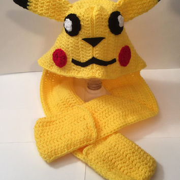 Pokemon - Pikachu - Scoodie - Crocheted Hat w/ Scarf  - All Sizes