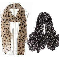 2014 NEW Fashion Ladies Scarf Shawls Cat Print Scraves Chiffon Wrap Beige Black Pink 158*50cm = 1929658628
