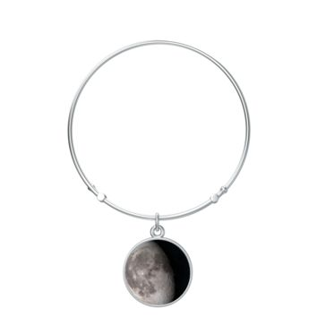 Personalized Moon Phase Silver Bangle Bracelet