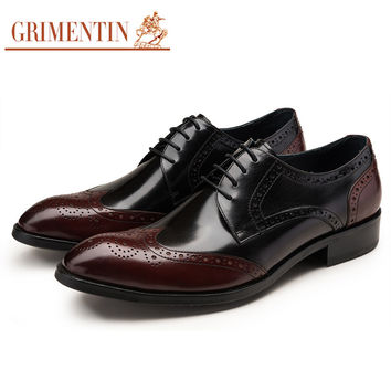 casual oxford shoes for men black wingtip carved lace up vintage fashion wedding business mens genuine leather shoes