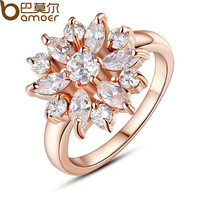 BAMOER  Rose Gold Plated Finger Ring for Women with AAA Cubic Zircon Engagement Jewelry #6 7 8 9 JIR029