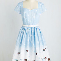 Long Short Sleeves A-line Waltzing in a Winter Wonderland Dress