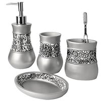 Creative Scents Brushed Nickel Bath Ensemble, 4 Piece Bathroom Accessories Set, Brushed Nickel Collection Bath Set Features Soap Dispenser, Toothbrush Holder, Tumbler, & Soap Dish- Silver Mosaic Glass - Bath Gift Set