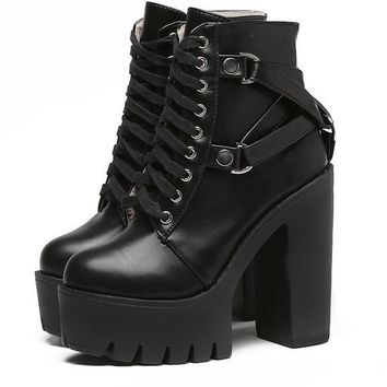 Gothic Cross Strap Ankle Boots Women Faux Leather Platform
