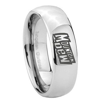 8MM Classic Mirror Dome Mountain Dew Tungsten Carbide Silver Engraved Ring