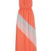 Color Block Maxi Dress - Living Coral