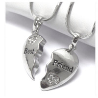 """Friends Forever"" Best Friend Rhinestone Accented Dual Necklace Set"