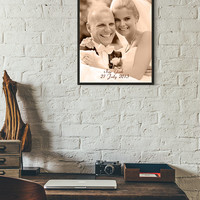 Photograph Engraved in REAL LEATHER - Leather Anniversary Gift for Her, Wedding Photo, Family Photos, Anniversary Gift - Third Anniversary