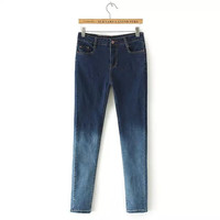Denim Bolock Button Zippered Skinny Pants