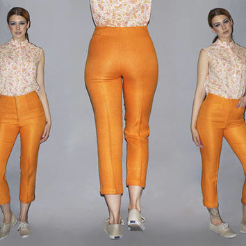 Vintage 60s HIGH WAISTED CAPRIS / Bold Carrot Orange Cropped Pants / Linen Pedal Pushers / Mod, Jackie O, Mad Men / Small 26