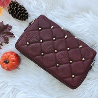 WHITNEY STUDDED BAG- BURGUNDY