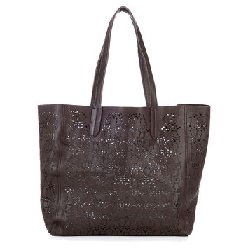 Leather Laser Cut Tote, Mahogany, Totes