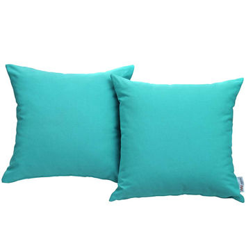 Turquoise Convene Two Piece Outdoor Patio Pillow Set