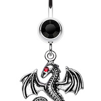 Jeweled Eye Dragon Belly Button Ring