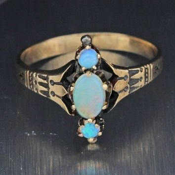 1880s Antique Victorian Estate Solid 10k Rose Gold Opal Band Ring