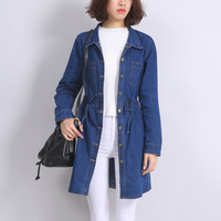 Women Jacket Spring and Autumn Denim Jacket  Korean Style long-sleeved long section  loose Slim Jacket ladies spring coats