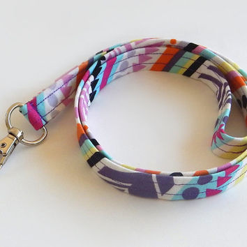 Geometric Lanyard / 80s Print / Colorful Keychain / Cute Lanyards / Key Lanyard / ID Badge Holder / Fabric Lanyard
